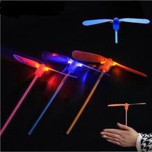 Glow in the Dark LED Luminous Flying Bamboo Dragonfly Light Up Flashing Toys 100 PIECE/lot Toy Toys Ufo YH307(China)