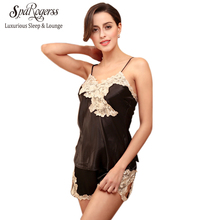 SpaRogerss Sexy Women Pajama Shorts Set 2017 Lace Faux Silk Ladies Summer Camis Shorts Sexy Nightgown 2 pcs Pajamas Suit DT102(China)