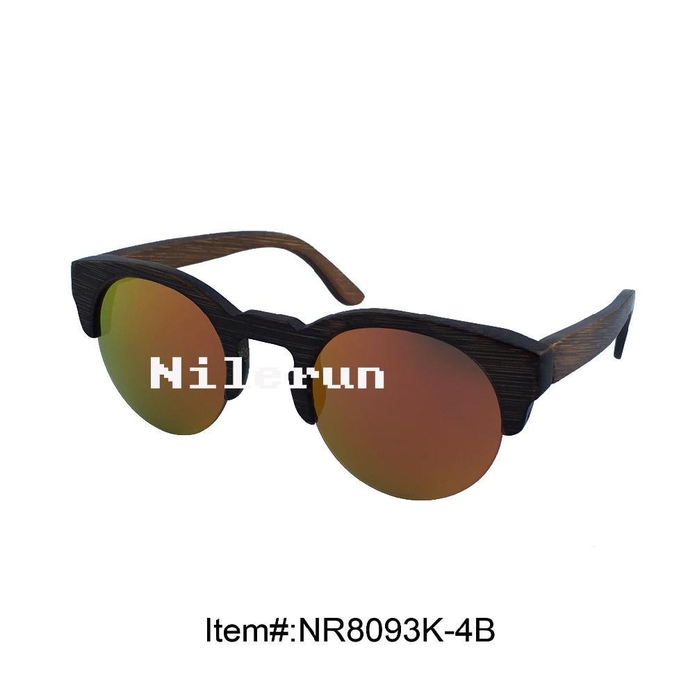 round mirror gold polarized lens bamboo half frame sunglasses<br><br>Aliexpress