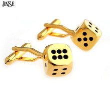 JINSE CFL064 Fashion Enamel Magic Cube Dice Cufflink Gold Cuff Link 1 Pair Drop Shipping Crazy Promotion