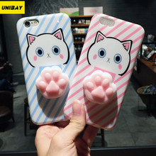 Unibay Original For iPhone 6 6S Case 4.7 inch Cute Cat 3D Foot Series Silicon Cases Cover For iPhone 6S Soft Touch Case(China)