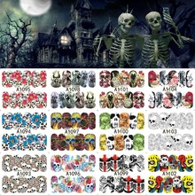 12 Sheets Halloween Nail Art Water Transfer Sticker Deer Full Cover Decals Skull Fancy Stickers Wrap Tips Decoration A1093-1104