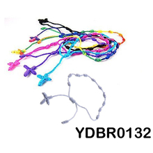 36pcs/lot Mix colors handmade cord knotted cross rosary bracelet rope hand knitted spanish fashion jewelry free shipping(China)