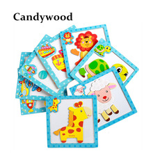 Candywood 3D Magnetic Puzzles Jigsaw Cartoon Wooden Toys for children Tangram Child Educational Toy for baby boy and girl gifts(China)