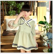 2017 baby girls new spring college navy wind Korean long-sleeved dress 2-7 years old four colors