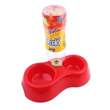 PHFU New Pet Dog Puppy Cat Automatic Water Dispenser Drink Food Dish Feeding Bowl Red