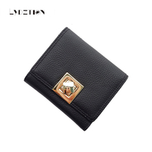 Lychee Pattern Retro Real Leather Lady Purses 2017 New American Leather Small Wallet Female Cube Gold Buckle 3 Fold Card Package