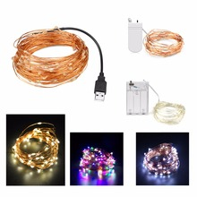 2m 5m 10m USB LED strip light Battery Powered RGB Copper Wire Holiday String lighting Fairy Christmas Trees Party home lighting