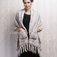 CX-B-M-08B Latest Hand Knitted Real Mink Fringed Scarf Shawl Stole With Pockets(China)