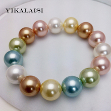 Buy YIKALAISI 2017 Charm Bracelet Pearl Jewelry Green Mother Pearl Shellfish Mix-color Bracelet Women girls wedding gifts for $24.99 in AliExpress store