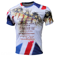 compression shirt white t shirts mens t shirts fashion 2016 print polyester print Eagle flag o-neck short sleeve knitted regular