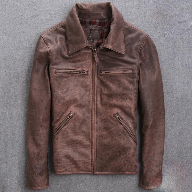 2017 new men's clothing Spring and autumn Slim short section Retro Motorcycle jacket lapel Leather jacket ZY245