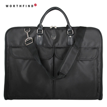 WORTHFIND Business Dress Garment Bag Black Nylon Clamp  Durable Men's Travel Bag