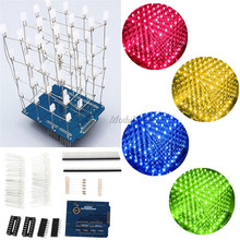 4X4X4 Blue/Red/Yellow/Green LED Light Cube Kit 3D LED DIY Kit Electronic Suite For Arduino(China)