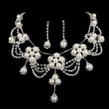 New Women Bride Sliver Plated Rhinestone Crystal Faux Pearl Necklace Earring Set Jewelry Set Wedding White Color Jewelry(China)