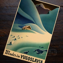World Skiing Travel Yugoslavia Propaganda Retro Vintage Kraft Poster Decorative DIY Wall Sticker Home Bar Posters Decoration