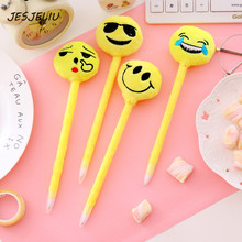 Cute Emoji Smile Ballpoint Pen Lovely Plush ball pens for writing office school supply Gifts for kids escolar(China)