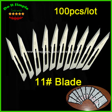 100pcs/lot Blade 11# Surgery Scalpel Opening Repair Tools Knife for Disposable Sterile/Mobile Phone/Beauty/DIY(China)