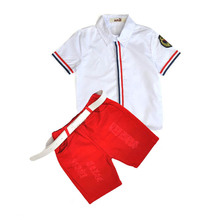 2016 new kids clothing set baby boy cotton t shirt short pants children set for summer boy cartoon clothes fits 2 colors 2-7T