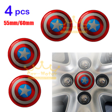 4pcs Universal 3D Captain America Car Motorcycle Steering Wheel Center Hub Cap Emblem Badge Stickers 55mm/60mm(China)