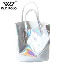 WDPOLO Mirror Pu leather Laser hand bags hot selling girl beach bags lady tote in high capacity fashion new design chic M1748(China)