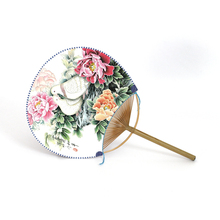 Profile Silk Round Paper Fan Bamboo Handle Chinese Traditional Handwork Crafts Classical Round Silk Fans with Peace Dove Pattern