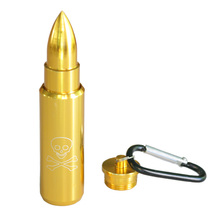 Bullet Pill Storage Box With Key Chain Metal Aluminum Gold Color Portable Ashtray Smoking Accessories Herb Spice Storage Box(China)