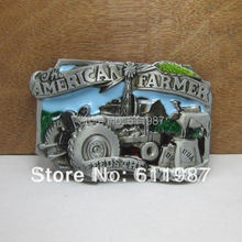 Bullzine wholesale American farmer belt buckle with pewter finish FP-02483 suitable for 4cm wideth belt free shipping(China)