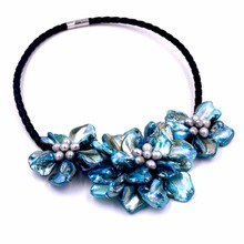 turquoises blue baroque shell flower necklace with grey pearls(China)