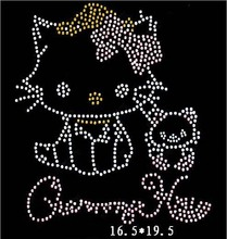 Free ship!12pc!Kawaii cat pattern hotfix rhinestones heat transfer design iron on motifs patches,rhinestone applique(China)