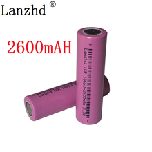2PCS 18650 rechargable Batteries 3.7v ICR18650 rechargeable 18650 Battery Li-ion  Real Full 2600MAH Capacity