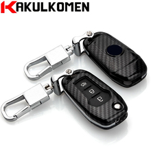 New Print Carbon fiber craft Folding Car key fob case cover wallet house for Ford Mondeo(1.5T) EVEREST( 2015 2016 2017 ) Escort(China)