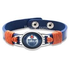 6pcs/lot! Edmonton Oilers Genuine Leather Adjustable Bracelet Wristband Cuff 12mm Blue Leather Snap Button Charm Jewelry
