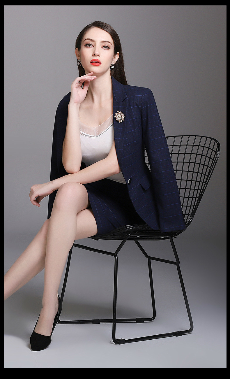 Beauty Navy Grid Cool Girl Suits Women's Skirt Suits Girl Work Suits Office Lady Suits Custom Made 2 Piece Jacket/Skirt