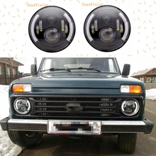 2pcs black 7 Inch Round H/Low lm LED Headlight For Lada 4x4 urban Niva For Jeep Wngler Hummer Land rover defender(China)