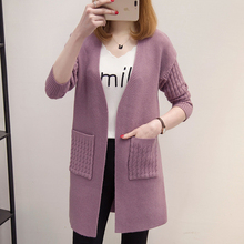 Knitted Long Cardigan Women 2017 Spring Autumn Casual Sweater Women Long Sleeve Cardigan Female Fashion Winter Tops Black Pink
