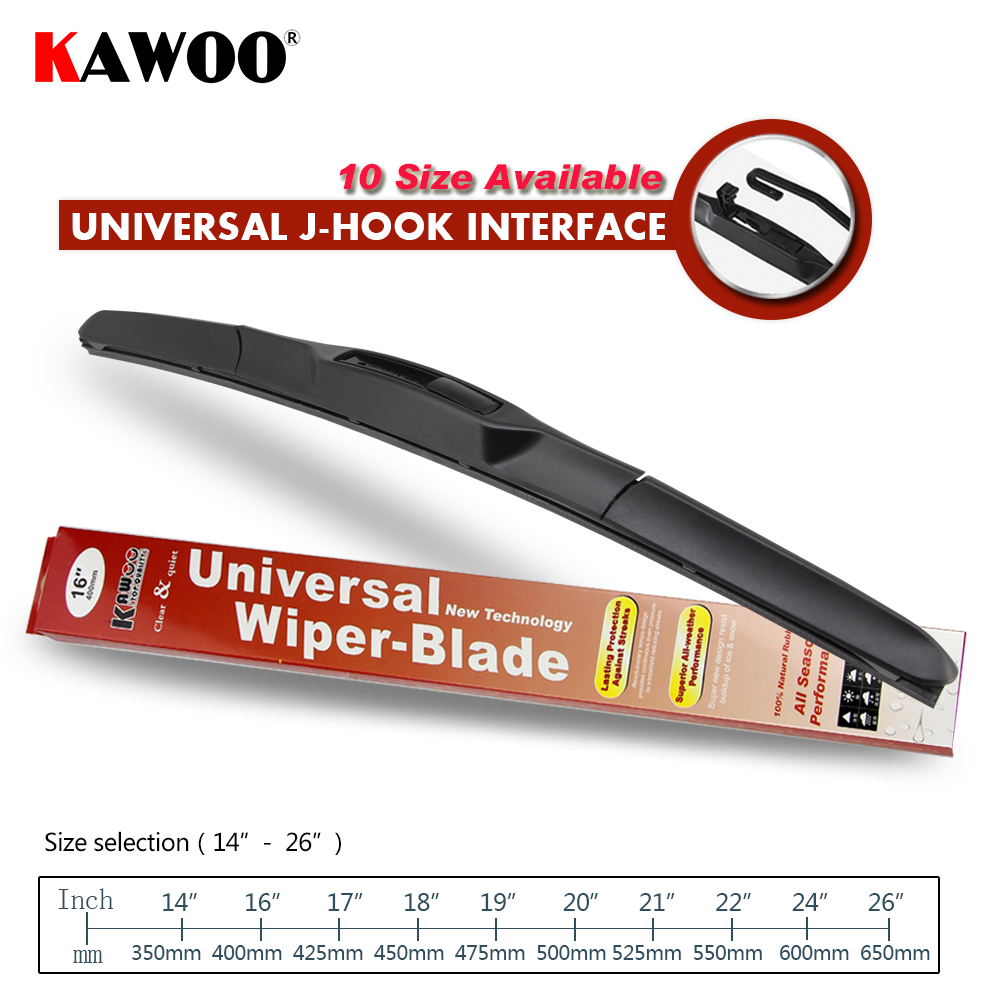 "KAWOO Universal U-Type Car Wiper Blade 14""16""17""18""19""20""21""22""24""26"" Hook Windscreen Windshield Soft Rubber Hybrid Auto Wipers(China)"