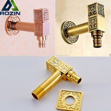 Luxury Bathroom Brass Washing Machine Faucet Wall Mounted Golden Rose Golden Bathroom Cold Water Taps(China)