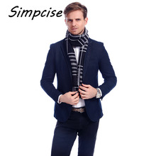[simpcise] 2017 Business Winter Men Plaid scarf Big Size Soft Tassel Cotton Blend Cachecol Masculin Scarves A3A18926(China)
