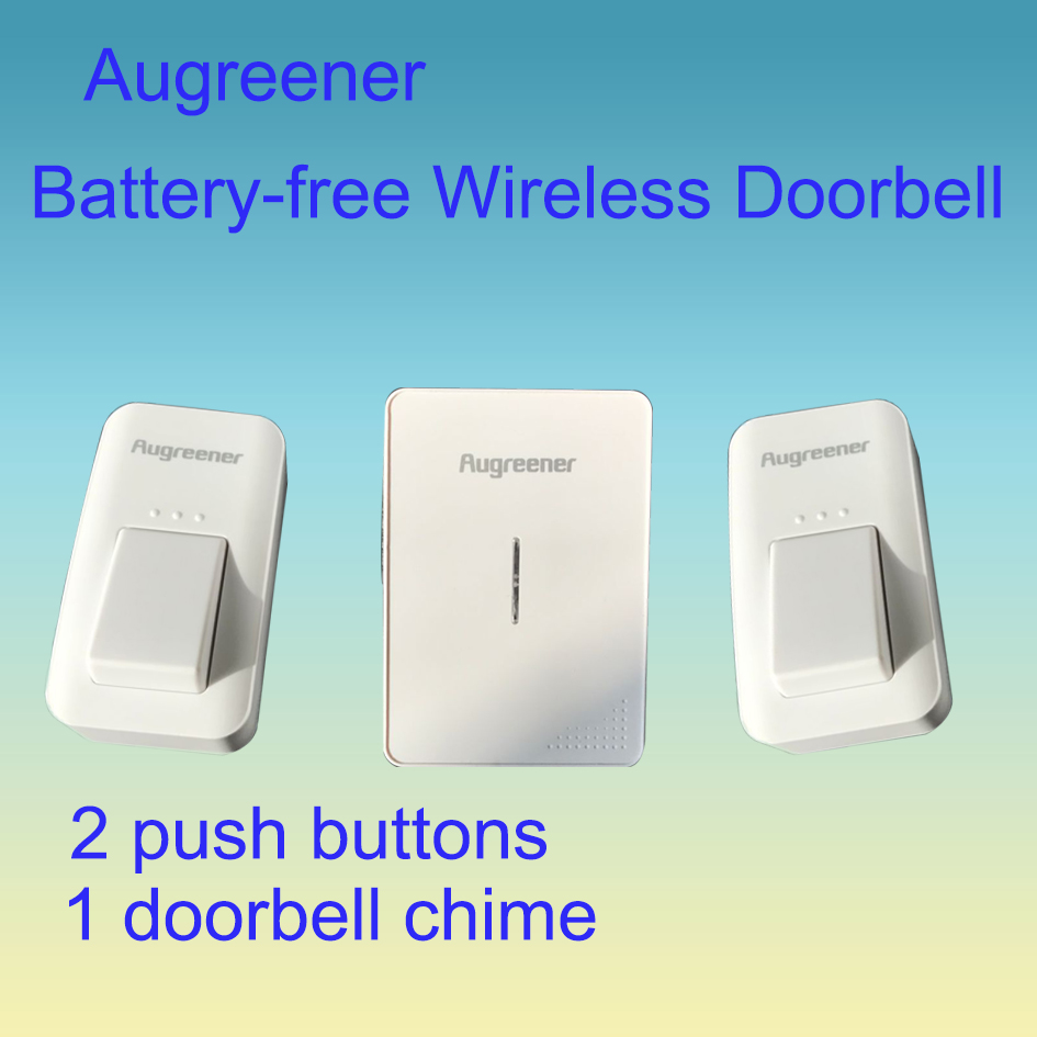 2 Push Buttons 1 Door Bell Chime No Battery Required Wireless Cordless Doorbell Waterproof Self-powered Plug-in Chime US UK EU<br>