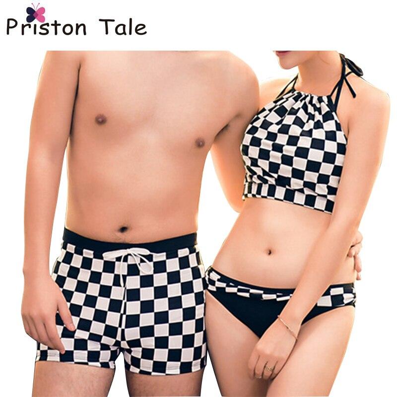 2017 Hot Printing Couples Swimwear Women Sexy Halter Padded Bikini Tankini Set Men Beach Short Lovers Beach Spa Bathing Suit 306<br>