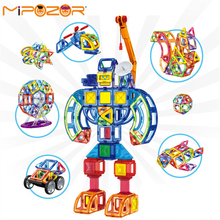 MIPOZOR 133Pcs 2017 New Magnetic Designer Building 3D Blocks Kids Educational Toys Car Robot Aircraft Helicopter Plastic bricks
