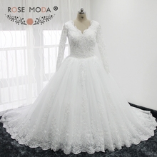 Buy Rose Moda V Neck Long Lace Sleeves Wedding Ball Gown Princess Lace Wedding Dress Muslim Wedding Dresses 2018 for $296.00 in AliExpress store