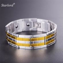 Men's Magnetic Therapy Bracelet Bangle Tourmaline Two Tone Stainless Steel Pain Relief Power Magnets Wrist Bracelet GH2638(China)