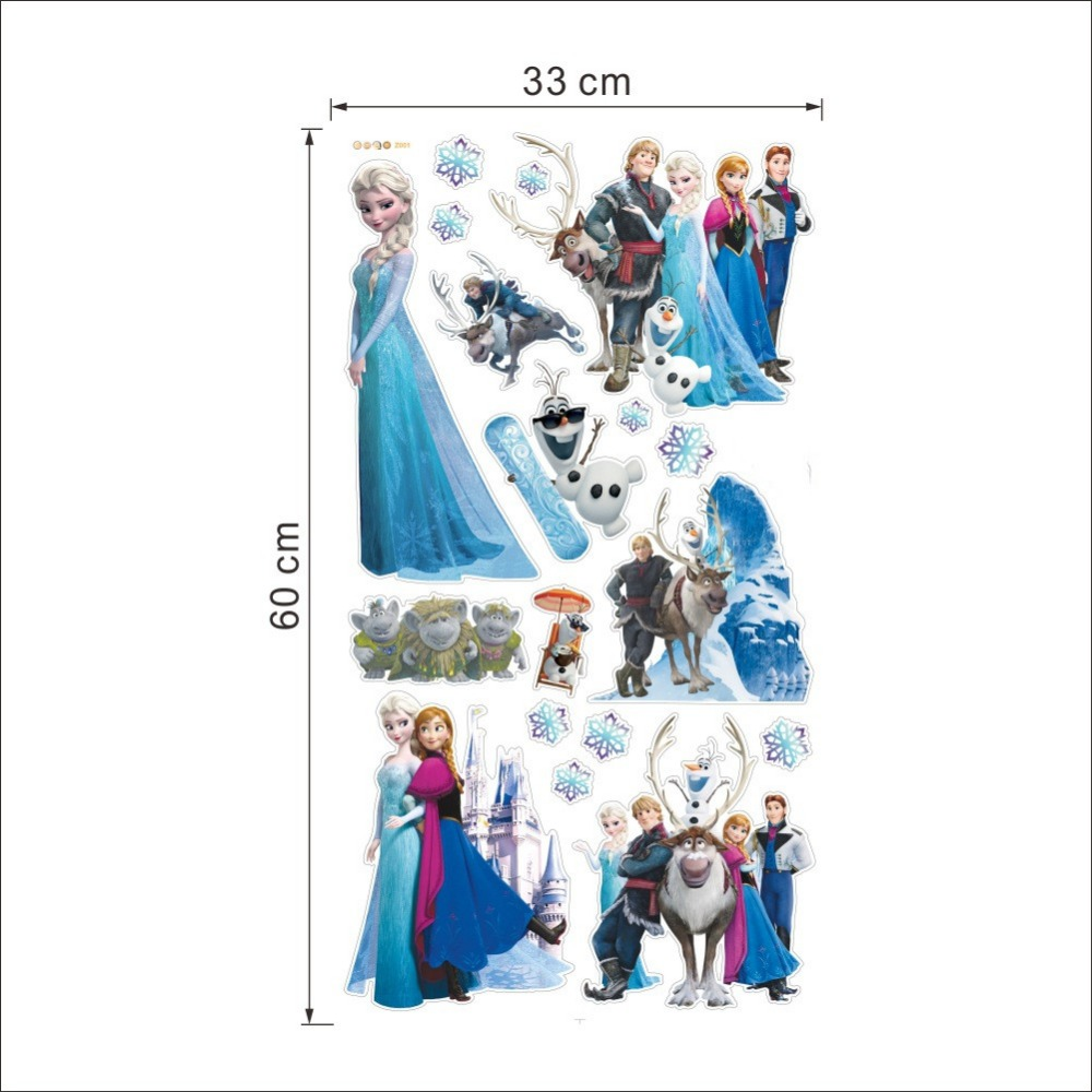 HTB1ygdUeRTH8KJjy0Fiq6ARsXXah - Fashion Cartoon Elsa Anna wall stickers girl Children room background decor stickers removable kids bedroom movie poster decal