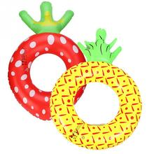 NEW Popular Large Cute Inflatable Strawberry Pineapple Fruit Swimming Donut Pool Float Ring Swimming Ring for Children Kids