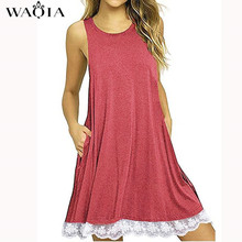 Buy WAQIA Summer Dress 2018 Women Casual Beach Short Dress Pocket Black White Mini Lace Dress Sexy Party Dresses Vestidos S-XXL for $4.17 in AliExpress store