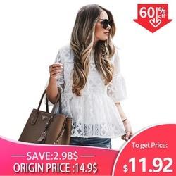 Женская кружевная блуза с круглым вырезом и рукавом три четверти