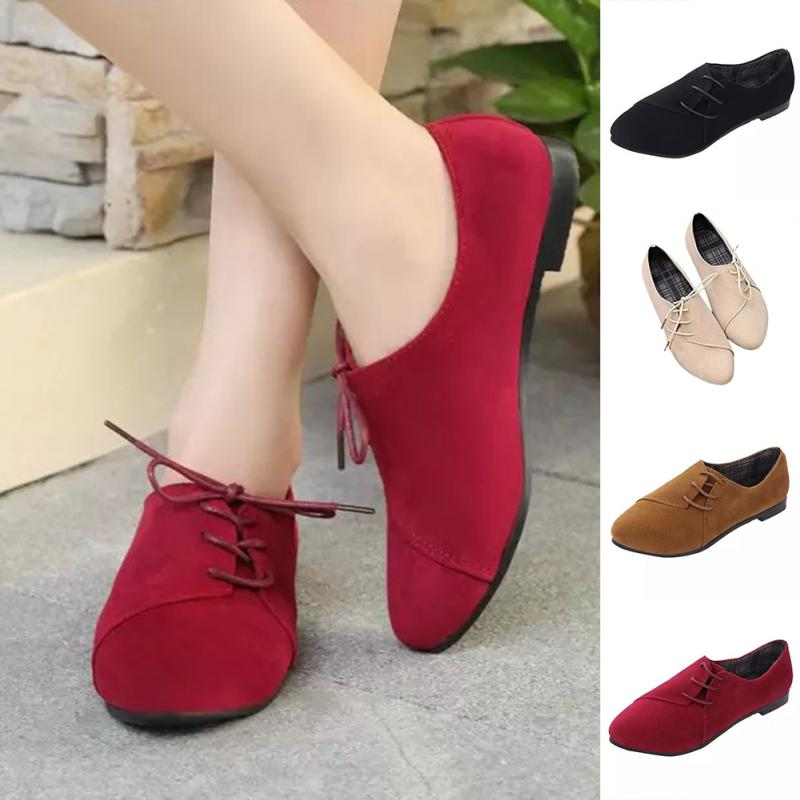 Womens Nubuck Leather Pointy Toe Casual Shoes Flats Lace Up High Top Spring Boot