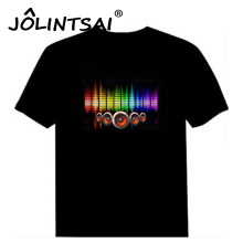 Hot Sale Sound Activated Led Cotton T Shirt Light Up and Down Flashing Equalizer EL T-Shirt Men for Rock Disco Party DJ Top Tee(China)